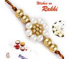 Aapno Rajasthan Aapno Rajasthan Golden Beads & AD Studded Pearl Rakhi, only rakhi