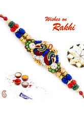 Aapno Rajasthan Multicolor Beads Dual Peacock Beautiful Rakhi, only rakhi