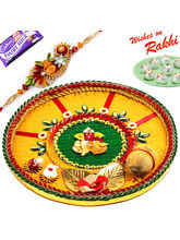 Aapno Rajasthan Traditional Rakhi Pooja Thali with Gat & Ganesh Motif with 1 Charming Rakhi, only rakhi
