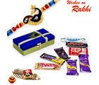 Aapno Rajasthan Blue & Gold Gift Box With Rakhi & Chocolate Rakhi Hampers