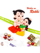 Aapno Rajasthan Chhota Bheem & Sister Motif Green Band Kids Rakhi, only rakhi with 8 pc homemade chocolates