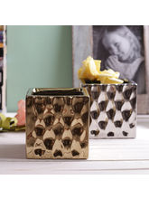 Tayhaa Set of 2 Pretty 10 CM Planter Pots (CH1607), gold and silver