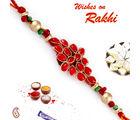Aapno Rajasthan Beautiful Red And Golden Beads Rich Rakhi, only rakhi