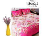 Aapno Rajasthan Combo Of Pink Bedsheet And Purple Decorative Flowers