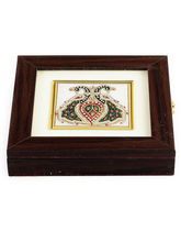 Aapno Rajasthan Twin Peacock Design Stone Inlay Work Square Gem Box (GST1238)