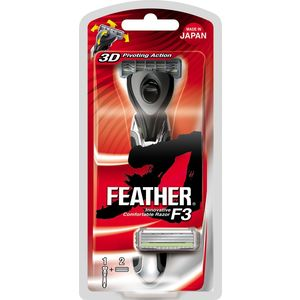 Feather F3 Men Triple Blade Cartridge Shaving Razor with 3D Pivoting Head - Made in Japan