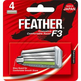 Feather F3 Triple Blade Cartridge Replacement Pack - 4 Cartridges