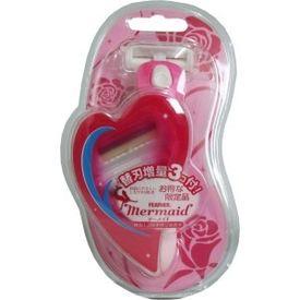 FEATHER Japan Mermaid Rose Pink Women Body Cartridge Razor with 3 cartridges - Razor for Hands, Legs, Body