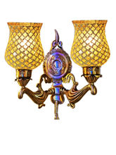 Wel Decor Handicraft Kottage Wall Hanging Lamp without Bulb (HK-WL5009), white and golden