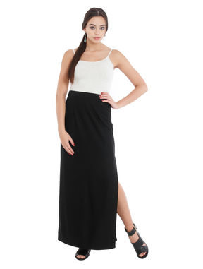 Long skirt with side slits, s, polyester, black