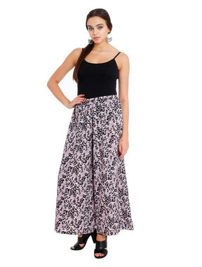 Printed Flared Palazzos, s, crepe, purple