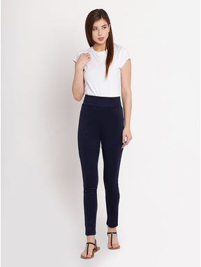 Navy Stretchable Jeggings, l, navy