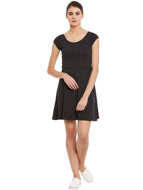 Polka Dot Fit and Flare Dress, black, m