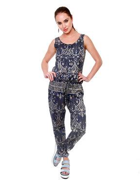Paisley Print Jumpsuit, s, navy blue