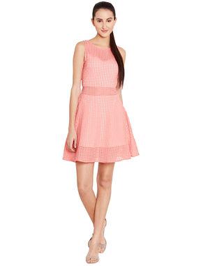 Salmon Pink Skater Dress In Organdy, l, salmon pink