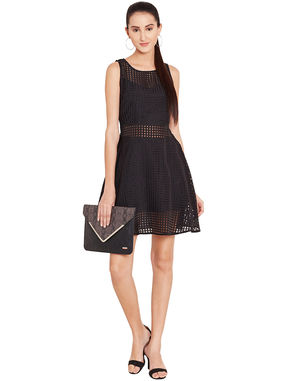 Black Skater Dress in Organdy, l, black