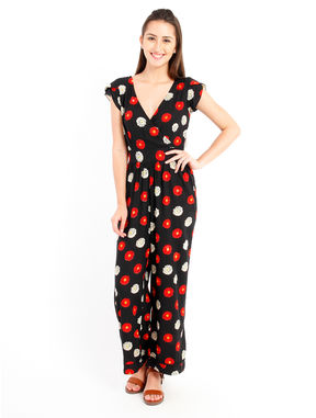 Black floral Jumpsuit, m, black