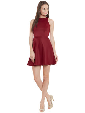 Maroon Fit and Flare Backless Dress, maroon, m