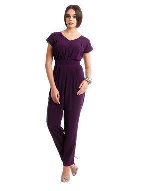 V-neck Purple jumpsuit, l, crepe, purple