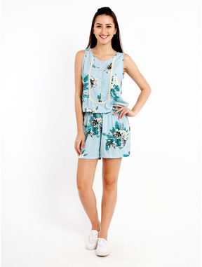 Printed Romper with Lace detail, s, blue