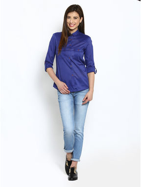 Blue Cotton Shirt with Printed Buttons, m, blue