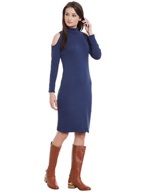 Navy Cold Shoulder Sheath Dress, navy, l