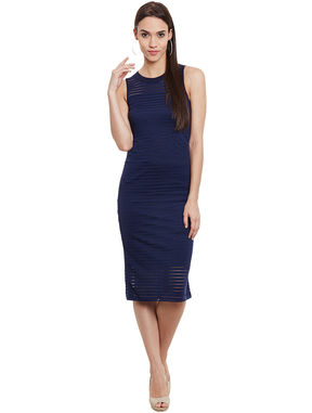 Navy Self-Stripe Bodycon Dress, l, navy blue