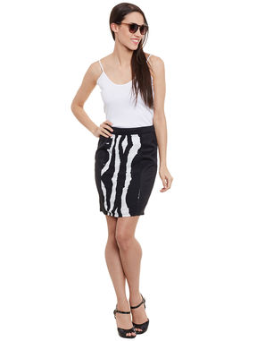 Printed Monochrome Pencil Skirt, l, black