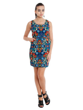 Floral pencil dress with pockets, xl, crepe, blue