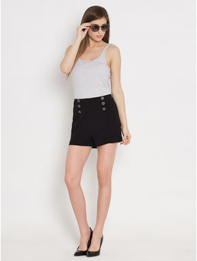Black High Waist Shorts, xl, black