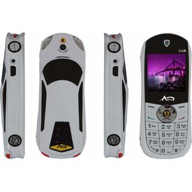 Agtel Ferrari Car Model Dual Sim Mobile Phone in White Colour