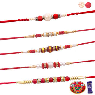 Siddhi Sales Set Of 05 Rakhis With Pooja Thali, Ra...