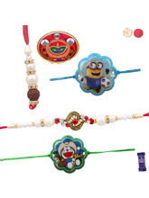 Siddhi Sales Set Of 04 Family Rakhi With Thali, Ra...