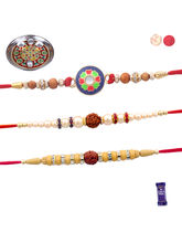 Siddhi Sales Set Of 03 Rakhis And Pooja Thali, Rak...