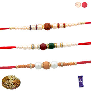 Siddhi Sales Set Of 3 Rakhis With Dryfruits, Rakhi...