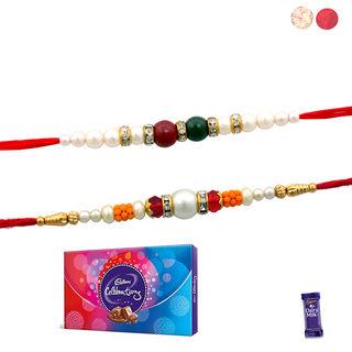 Siddhi Sales Set Of 02 Rakhi With Celebration Choc...