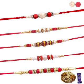 Siddhi Sales Set Of 05 Rakhis With Dryfruits, Rakh...