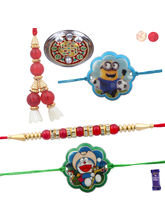 Siddhi Sales Set Of 04 Rakhis With Pooja Thali, Ra...