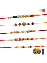 Siddhi Sales Set Of 05 Rakhis - Dryfruit Hamper, R...