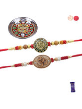 Siddhi Sales Set Of 02 Rakhis With Pooja Thali, Ra...