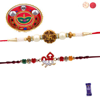 Siddhi Sales Set Of 02 Rakhi With Thali, Rakhi Wit...