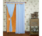 Home Royal Door Loop Curtains Plain Set of 2 (HRCT-01-7), turquoise