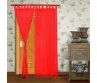 Home Royal Long Door Loop Curtains Plain Set of 2 (HRCT-11-9), red