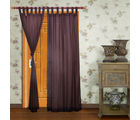 Home Royal Door Loop Curtains Plain Set of 2 (HRCT-04-7), brown