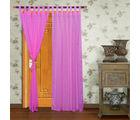 Home Royal Long Door Loop Curtains Plain Set of 2 (HRCT-09-9), pink
