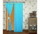 Home Royal Long Door Loop Curtains Plain Set of 2 (HRCT-02-9), blue