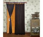 Home Royal Door Loop Curtains Plain Set of 2 (HRCT-06-7), black
