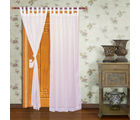 Home Royal Door Loop Curtains Plain Set of 2 (HRCT-03-7), white