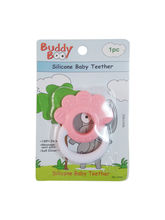Buddyboo Flower Shaped Silicone Baby Teether - Pink And White (143023)