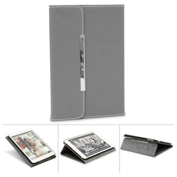 MYCANDY PREMIUM PU LEATHER BOOK TYPE CASE WITH DESIGN FOR APPLE IPAD MINI,  grey